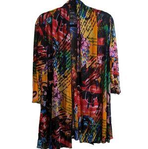 ALI MILES multi color long open cardigan